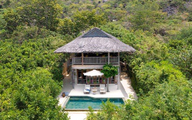 ninh van bay vietnam beachfront pool villa aerial